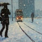 Een tram in de winter